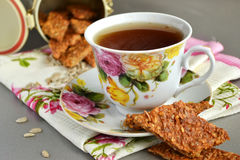 Печенья чая и овсяной каши с семенами подсолнуха Стоковые Фотографии RF
