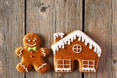 Печенья человека и дома пряника рождества Стоковое Изображение