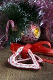 Печенья шоколада рождества формы сердца Стоковые Изображения RF