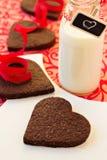 Печенья шоколада сердц-форменные Стоковые Изображения