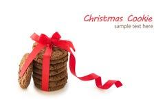 Печенья шоколада с отказами на белой предпосылке, взгляд сверху стоковые изображения