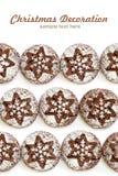 Печенья шоколада с отказами на белой предпосылке, взгляд сверху стоковое фото rf