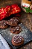 Печенья шоколада с шоколадом на верхней части стоковое фото