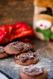 Печенья шоколада с шоколадом на верхней части стоковая фотография