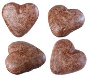 Печенья шоколада в изоляте формы сердца на белой предпосылке, Стоковые Изображения
