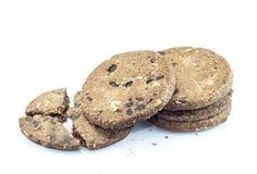 печенья шоколада обломока предпосылки белые Стоковые Изображения