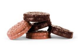 Печенья шоколада против белой предпосылки Стоковое Фото