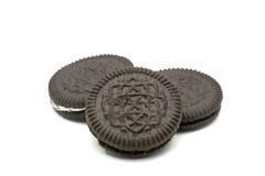 Печенья шоколада с ванильной Cream завалкой Стоковые Фото