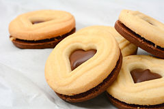 Печенья шоколада формы сердца Стоковое Изображение