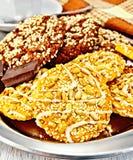 Печенья шоколад и shortcake на подносе Стоковая Фотография
