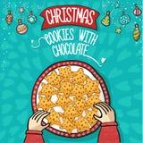 Печенья Cristmas с притяжкой руки шоколада иллюстрация штока