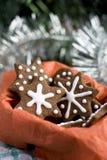 Печенья gingerbread рождества в форме звезды Стоковое Изображение