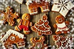 Печенья gingerbread рождества домодельные бесплатная иллюстрация