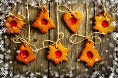 Печенья gingerbread рождества домодельные иллюстрация вектора