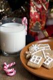 Печенья gingerbread рождества с стеклом молока Стоковая Фотография RF