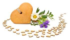 Печенья Gingerbread сформированные как сердца Стоковая Фотография