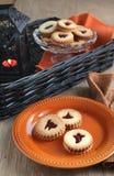 Печенья Linzer на Halloween Стоковое Фото