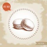 Печенья Macaroon на винтажной старой предпосылке Очень вкусная помадка французского печенья Нарисованный рукой вектор стиля эскиз Стоковые Фотографии RF