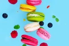 Печенья Macaroons на пинке Стоковая Фотография