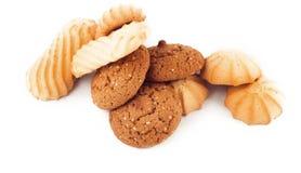 Печенья Shortbread и овсяной каши изолированные на белой предпосылке Стоковая Фотография RF
