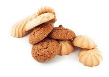 Печенья Shortbread и овсяной каши изолированные на белой предпосылке Стоковые Изображения RF