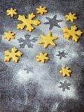 Печенья shortbread рождества в форме снежинок брызгая резцы сахара и печенья Концепция карточки Xmas Стоковая Фотография