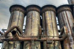 Печные трубы для изготовлять чугуна, Остравы, чехии Стоковое фото RF