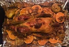 Печь испекла блюдо рождества птицы Гвинеи aka итальянское, Москву, Россию Стоковое Фото