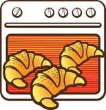 Печь плиты с значком 3 горячим круассанов бесплатная иллюстрация