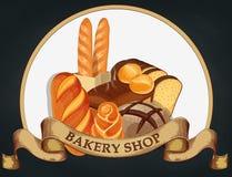 Печь эмблема магазина Логотип хлеба для магазина хлебопекарни Клеймящ, ярлык, дизайн эмблемы хлебопекарни на темной предпосылке в Стоковые Изображения RF