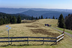 Пешая группа в пейзаже горы черного леса стоковая фотография