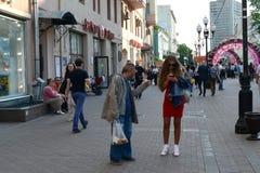 Пешеходная улица Arbat в Москве Стоковые Фотографии RF