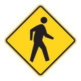 пешеходное предупреждение дорожного знака Стоковое Изображение RF