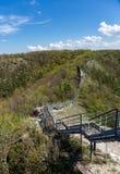 Пешеходный мост в горах стоковая фотография rf