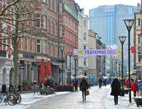 Пешеходная улица в Malmo, Швеции Стоковые Фотографии RF
