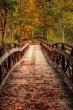Пешеходный мост осени Стоковые Фотографии RF