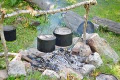 Пешие боилеры, располагаясь лагерем Стоковые Фото