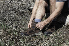 Пешие ботинки и след готовые Стоковые Изображения RF