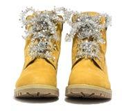Пешие ботинки с рождеством шнурков Стоковое Изображение RF