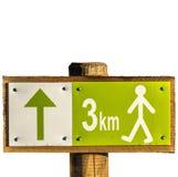 Пеший знак с расстоянием 3 km Стоковая Фотография RF