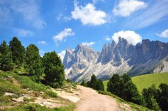 Пеший путь в Альпах стоковая фотография