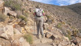 Пеший след женщины идет вверх по холму с Trekking ручками, вид сзади, замедленному движению акции видеоматериалы
