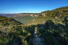 Пеший туризм большой прогулки clifftop, голубые горы, Австралия 1 стоковая фотография