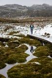 Пеший туризм вокруг национального парка горы вашгерда в Тасмании, Австралия стоковое изображение rf