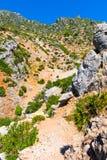 Пеший туризм в горах Rif Марокко под городом Chefchaouen, Марокко, Африка стоковое фото