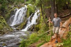 Пеший туризм в лесе Орегона стоковое изображение rf