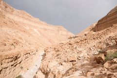 Пеший туризм в каменном приключении Ближний Востока пустыни Стоковое Фото