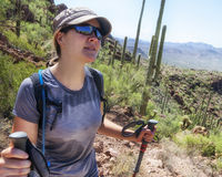 Пеший туризм в национальном парке Saguaro Стоковое Изображение RF