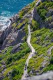 Пеший туризм вдоль следа Cabot в St. John & x27; s Ньюфаундленд, Канада Стоковая Фотография
