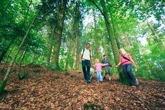 Пеший туризм семьи из четырех человек Стоковые Изображения RF